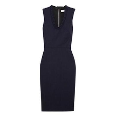 Ruffled Pinstriped Stretch-Poplin Dress