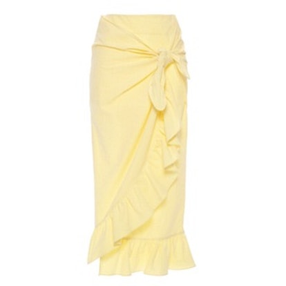 Camoscio Ruffled Seersucker Midi Skirt
