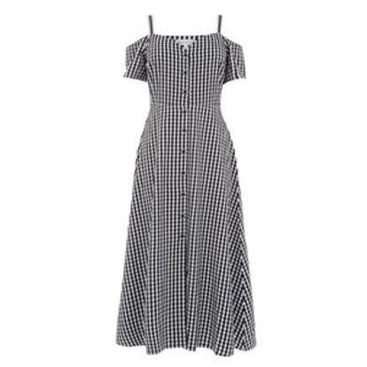 Gingham Button Front Dress