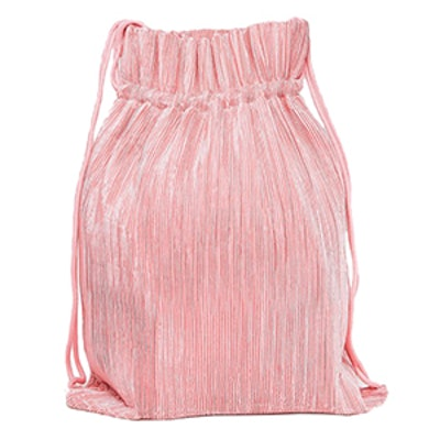 Pleat Detail Drawstring Backpack in Pink