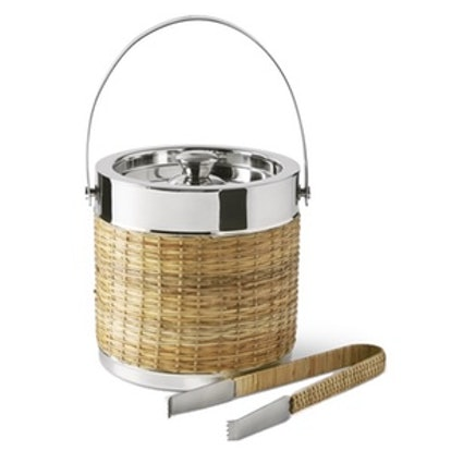 AERIN Woven & Silver Ice Bucket with Tongs