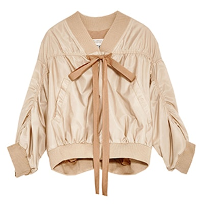 Studio Cropped Bomber Jacket With Full Sleeves