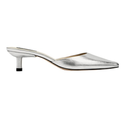 Silver-Toned Leather High Heel Mules