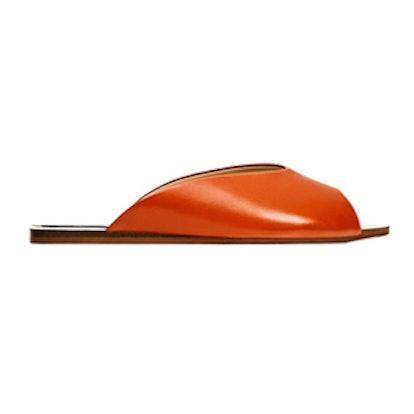 V-Cut Leather Slides