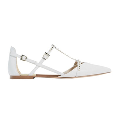 Studded White D'Orsay Shoes