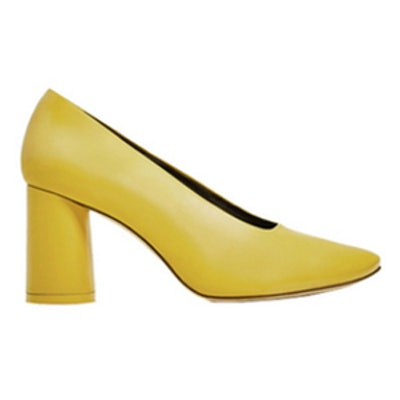 Yellow Leather Mid Heel Shoes