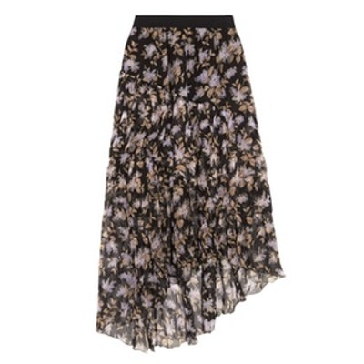 Asymmetric Tiered Printed Crinkled Silk-Chiffon Skirt