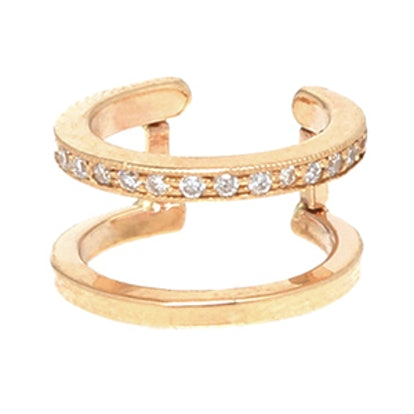 14K Pave Double Ear Cuff
