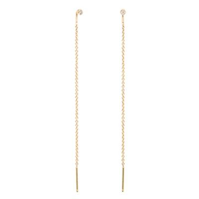 14K White Diamond Threader Earrings