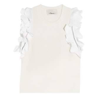 Zip-Detailed Ruffled Stretch-Cotton Top
