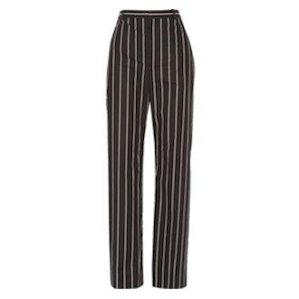 Striped Cotton-Poplin Straight-Leg Pants