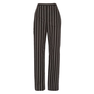Striped Cotton-Poplin Straight-Leg Pants