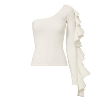 Electra Ruffle Sleeve White Top