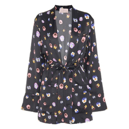 Floral-Printed Satin Jacket