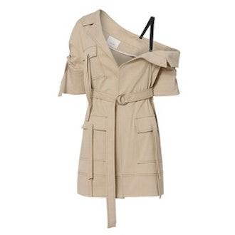 Marlowe Asymmetrical Off Shoulder Trench Jacket