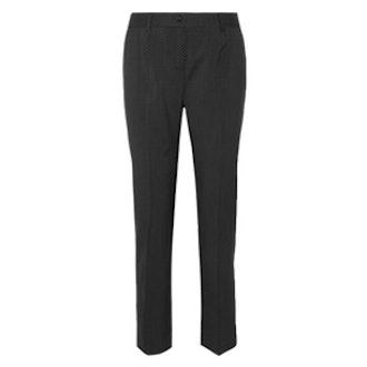 Polka-Dot Wool Slim-Leg Pants