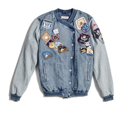 Patch Denim Bomber Jacket