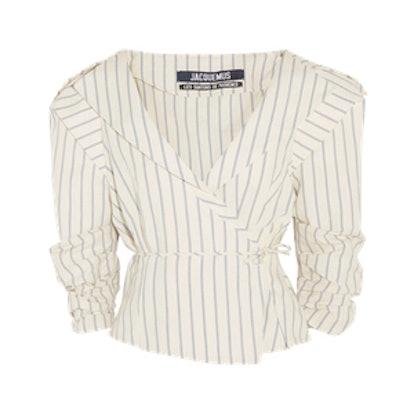 Striped Cotton And Linen-Blend Wrap Jacket