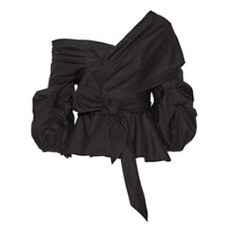 Santa Rosa Wrap-Effect Cotton-Blend Poplin Top