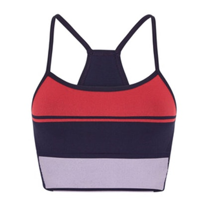 Block Striped Stretch-Knit Sports Bra