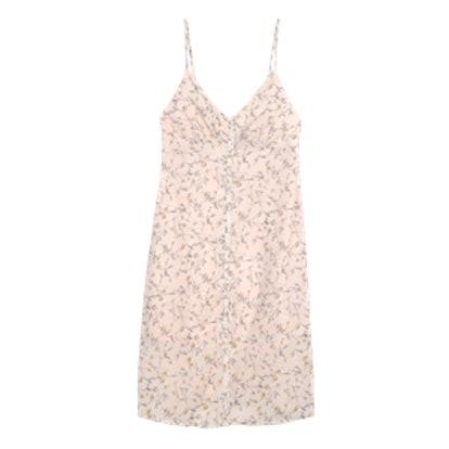 Women's Floral Print Button Front Midi Slip Dress