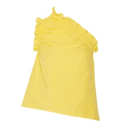 One-Shoulder Ruffled Cotton-Poplin Top