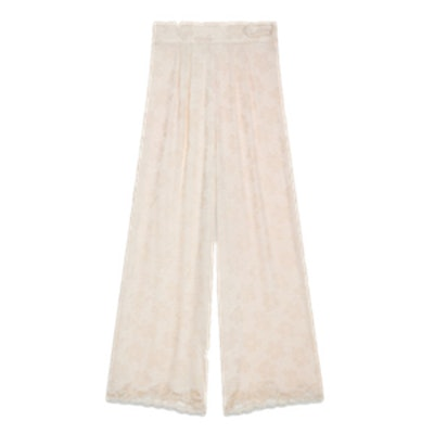 Wide-Leg Satin Jacquard Trousers