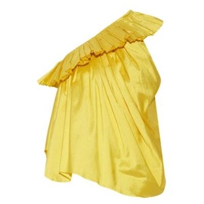 One-Shoulder Ruffled Silk-Taffeta Top
