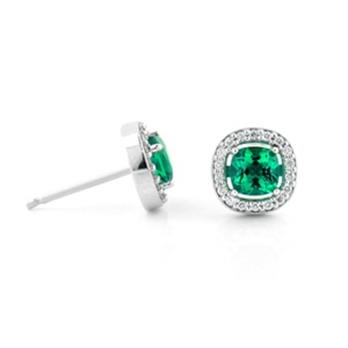 Diamond Halo Emerald Cushion Earrings