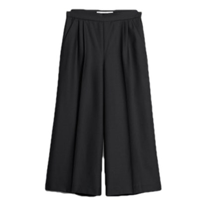 Creased Wool Blend Culottes