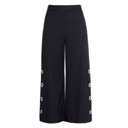 Snap Button Pin Stripe High Waisted Pants