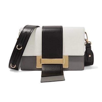 Ribbon Color-Block Leather Shoulder Bag