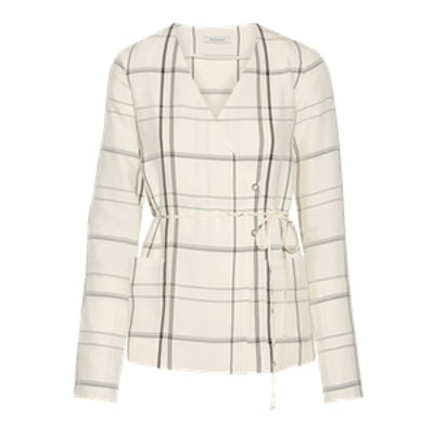 Checked Twill Wrap Top