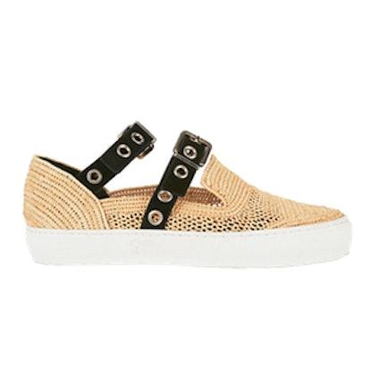 Grommet Strap Raffia Sneakers