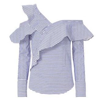 Pinstriped Poplin Asymmetrical Ruffle Shirt