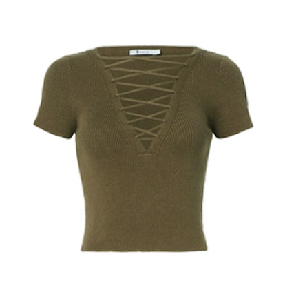 Olive Lace-Up Short Sleeve Sweater