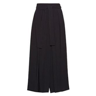 Skannt Belted Pleated Wide-Leg Pants