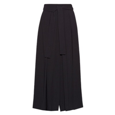 Skannt Belted Pleated Wide-Leg Pants