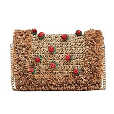 Raffia Cross-Body Bag With Strawberries