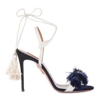 Tasseled Two-Tone Suede Sandals