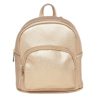 Metallic Mini Backpack With Front Pocket
