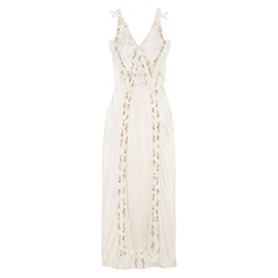 Marisa Embellished Embroidered Silk-Satin Maxi Dress