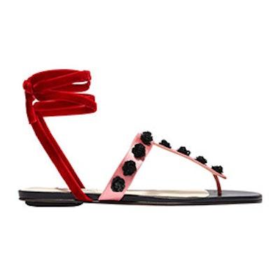 Vanessa Embellished Satin And Velvet Sandals