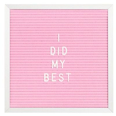 threepotatofour Square Pink Felt Letter Board