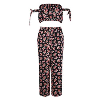 Clare Floral Off The Shoulder Woven Culotte Co-Ord