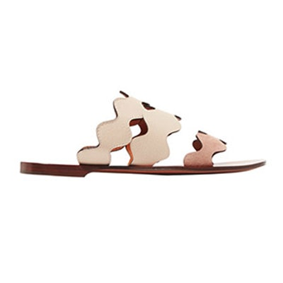 Scalloped Leather And Suede Sandals