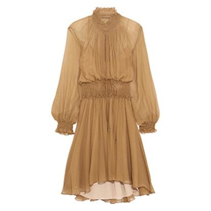Smocked Silk-Crepon Mini Dress