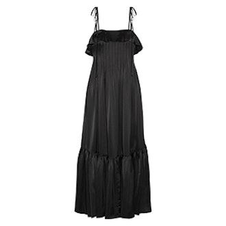 Ruffle-Trimmed Pleated Satin Maxi Dress