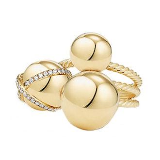 Solari Cluster Ring With Diamonds In 18K Gold