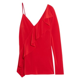 One-Shoulder Ruffled Silk Crepe De Chine Blouse